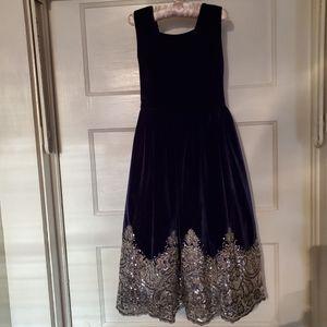 Girls Velvet Party Dress w/Sequin Hem
